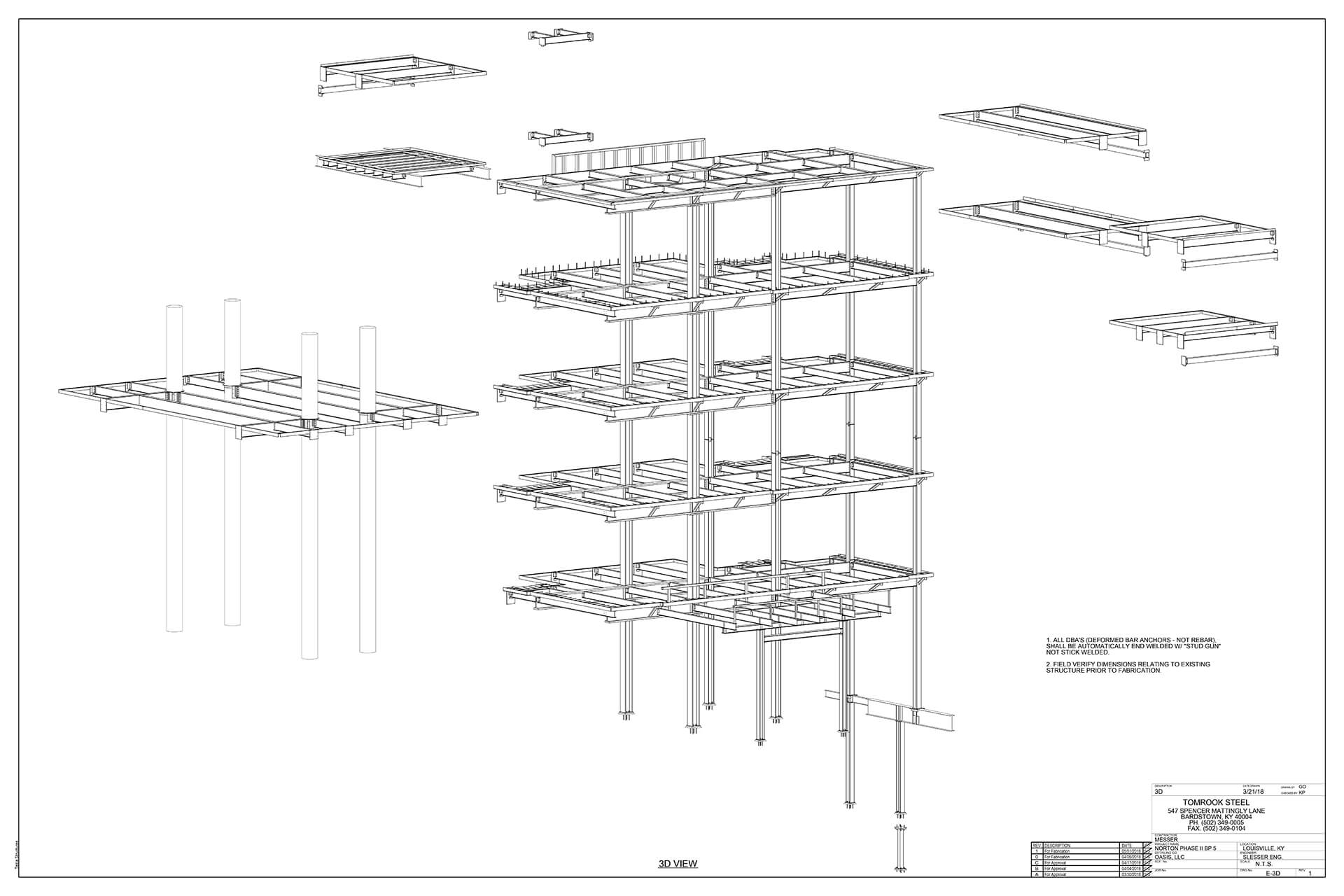Shop fabrication and erection drawings